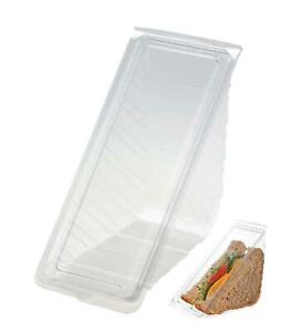 Clear DEEPFILL Plastic Hinged Sandwich Triangle Wedge Pack Lunch Catering Picnic