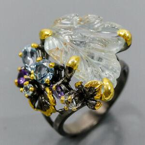 Vintage SET Aquamarine Ring Silver 925 Sterling  Size 7.75 /R175453