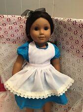 "Doll Clothes Dress Apron Headband Alice in Wonderland Set Fits 18"" American Girl"