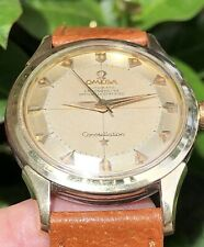OMEGA CONSTELLATION VINTAGE RADIUM LUME PIE PAN DIAL 2852-3 GOLD & STEEL WATCH!!
