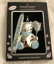 Babys First Christmas 2016 Boy Harvey Lewis Swarovski Ornament Bear Blue