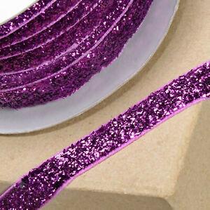 FUCHSIA PINK VELVET GLITZY RIBBON 10mm x 10M CRAFT CHRISTMAS CAKE GIFT WRAP