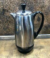 Vintage Farberware 8 - 12 Cup SST Coffee Percolator/ Retro Perk Maker NICE