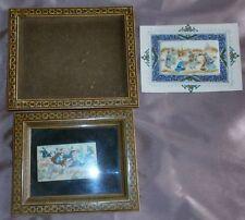 2 Miniatures orientales peintures sur plaque, cadre façon micro mosaïque :usures
