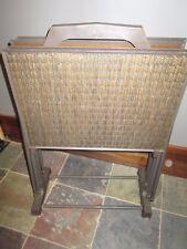 VINTAGE 1970's Set of 4 Brown Faux WICKER TV Trays Metal  Legs w/Stand Wheels