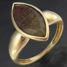 Interesting ANGEL / VENUS HAIR / RUTILE QUARTZ 9k Solid Yellow GOLD RING Lg Sz S