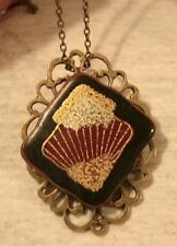 Handsome Open Brasstone Black Burgundy Abstract Shell Gild Pendant Necklace Pin