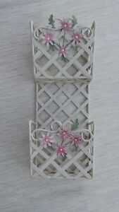"""MCM Letter Holder 2 Sections White Metal  Lattice  Distressed White  16 1/4 """"H."""