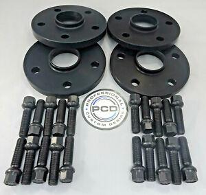 2 Pair Golf MK7 BLACK Wheel Spacers, 12 & 15mm Wide 5x112 57.1CB 20 Radius Bolts
