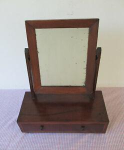 Antique Walnut Veneer Shaving Stand w/Mirror & Wood Back Dovetail Drawer 1860-80
