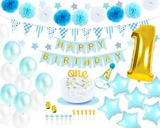 Monka 1st Birthday Birthday Decor for Baby Boy,First Birthday Party Supplies