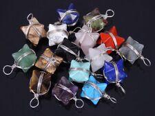 Natural Gemstone Reiki Chakra Merkaba Healing Pendant Charm Beads Wire Wrap