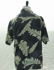 Tommy Bahama Shirt, Silk, wood buttons, Leaves Pattern, Gray,  Tag Size: Small