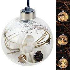 LED Christbaumschmuck Glas Ø 9cm Weihnachtskugeln Baumschmuck Weihnachten
