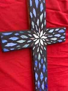 Mosaic Wall Cross Religious Art Home Garden Decor 15x9 inches - Gift A368