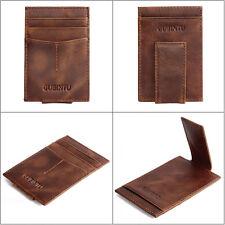 Men's Leather Magic Wallet slim money clip credit card holder ID business Wallet