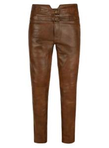 Jim Morrison Cowhide Leather Jeans Brown Pant Trouser