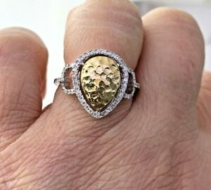 Pear Shape Cluster Ring with Natural Diamond 14k Solid White Gold Sz 7