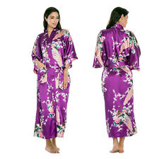 Plus Size Silk Wedding Party Bride Bridesmaid Robe Women Floral Bathrobe Kimono
