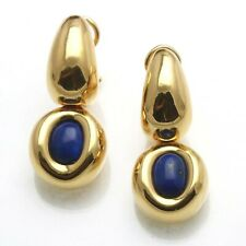 Vintage 18k Pitti & Sisi Lapis Drop Earrings Yellow Gold Made in Italy Estate