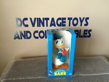 "Disney Donald Duck Bank Soft Vinyl 11.5"" Illco Vintage In Box"