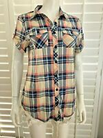 NWT* Short SLV Plaid Button Up Knit Shirt w/Roll up button Tab Size Ivory/Coral