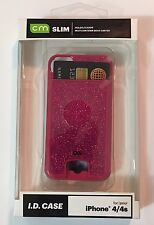 iPhone 4/4S CM Case Mate Slim ID Credit Card Holder Pink Sparkle Hard Shell NEW