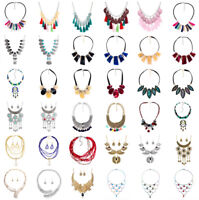 Fashion Women Bib Flower Pendant Statement Chain Chunky Choker Crystal Necklace
