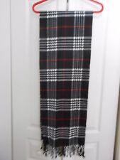 100% CASHMERE BLK, WHITE, RED PLAID FRINGES SCARF...ITALY DESIGN, MADE IN CHINA