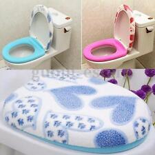Soft Closestool Washable Mat+Lid Top Cover Bathroom Warmer Cloth Toilet Seat Set