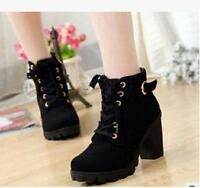 New Style Motorcycle High Heel Shoes Women Lace Up Zipper Lady Ankle Punk Boot