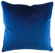 2 X LUXURY EVANS LICHFIELD ROYAL VELVET BLUE PIPED SUPERSOFT CUSHION COVERS 17""