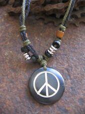 Peace Halskette Anhänger Hippie Surfer Style Schmuck Holz schwarz grün neu Kette