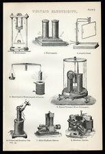 VOLTAIC ELECTRICITY 1887 Electro-magnet Ampere Deprez-D'Arsonval LITHOGRAPH #2