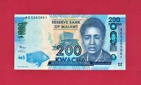 MALAWI UNC BEAUTIFUL NOTE: 200 KWACHA 2012 (Pick-60a) PRINTER: DE LA RUE ENGLAND