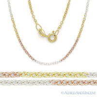 Tri-tone Sterling Silver 14k Yellow Rose Gold Plated 1.4mm Cable Chain Necklace