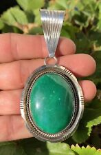 "MASSIVE 3 3/4"" OLD PAWN NATIVE AMERICAN STERLING SILVER GREEN TURQUOISE PENDANT"