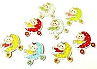 10 X 33x33mm Handmade Wooden Buttons Handicraft Sewing Pushchair Baby Scrapbook