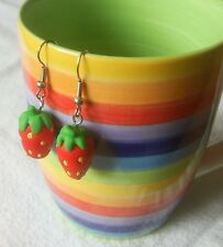 ** Strawberry Earrings - handmade fimo summer**