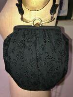 VTG 40'S*BLACK FLORAL TEXTURED SATIN TAFFETA CLUTCH PURSE BAG GOLD HARDWARE