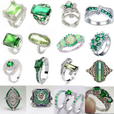 925 Sterling Silver Vintage Emerald Rings Wedding Valentine's Day Jewelry Gift