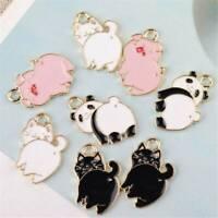10Pcs DIY Enamel Alloy Pig Cat Panda Clock Charm Pendants Jewelry Findings Craft