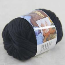Sale 1BallX50g Chunky Cotton Hand Knitting Smooth Special Soft Thick Yarn Black