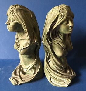 "Pair Art Nouveau Chalkware/ Plaster bookend figurines, signed c1920's, 9"" tall"