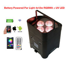 New Par Light 4x12w RGBWA+UV 6in1 LED Battery Powered Wireless iOS Android APPs