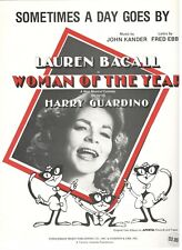 LAUREN BACALL-SOMETIMES A DAY GOES BY-WOMAN OF THE YEAR SHEET MUSIC-PIANO/V/C!!
