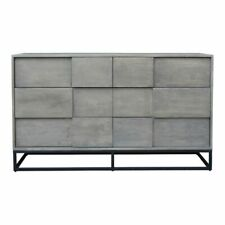 "55"" L Dresser Contemporary 6 Drawer Solid Acacia Wood Powder Coated Iron"