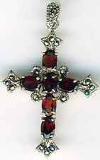 "925 Sterling Silver Cross Garnet & Marcasite Pendant 1.5/8"" 43mm with  bail"