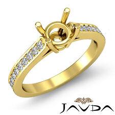 Round Semi Mount Fine Diamond Engagement Pave Set Ring 14k Yellow Gold 0.25Ct