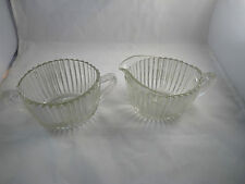 Anchor Hocking Queen Mary Cream & Sugar Bowl Depression Glass Crystal Clear